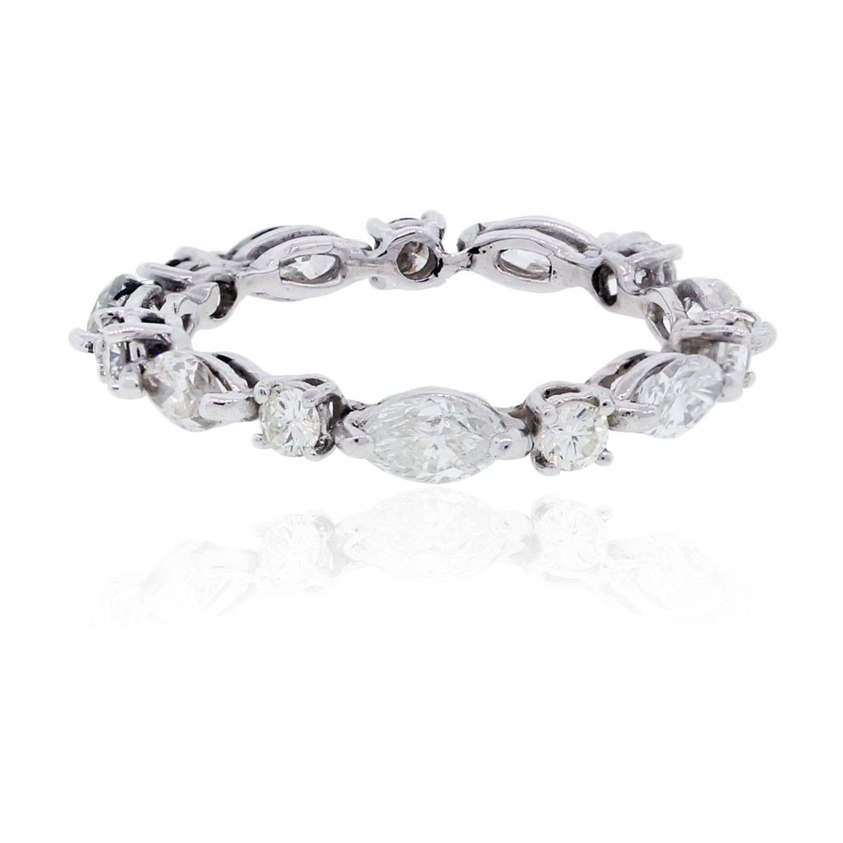 14k White Gold 1.50ctw Marquise & Round Diamond Eternity Band