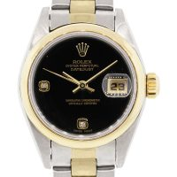 Rolex 79163 Datejust Two Tone Black Diamond Dial Watch
