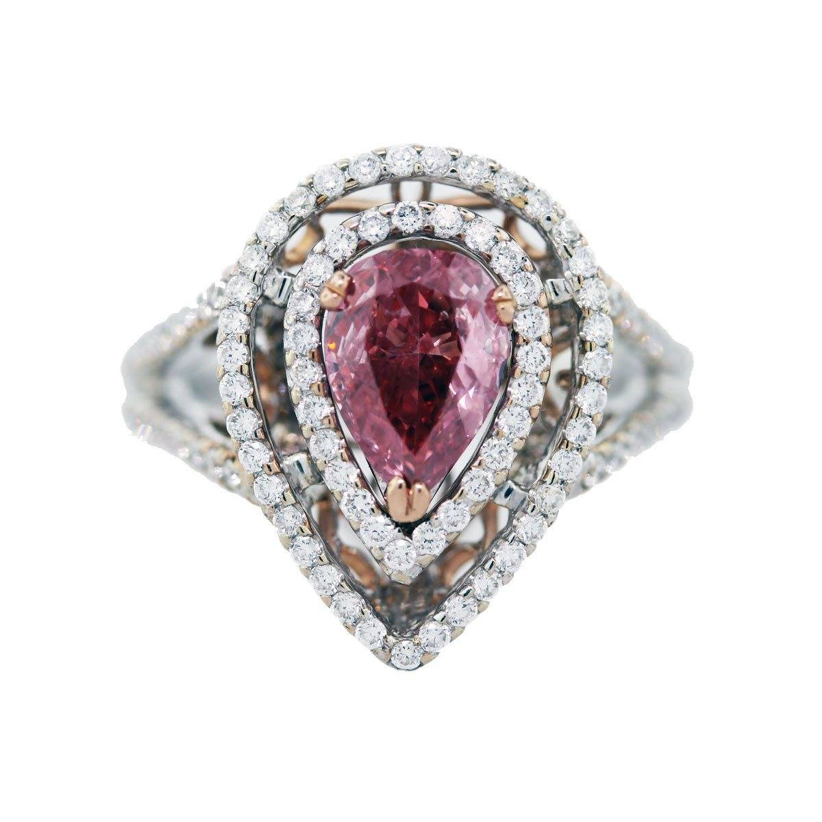 1 carat pink diamond engagement ring