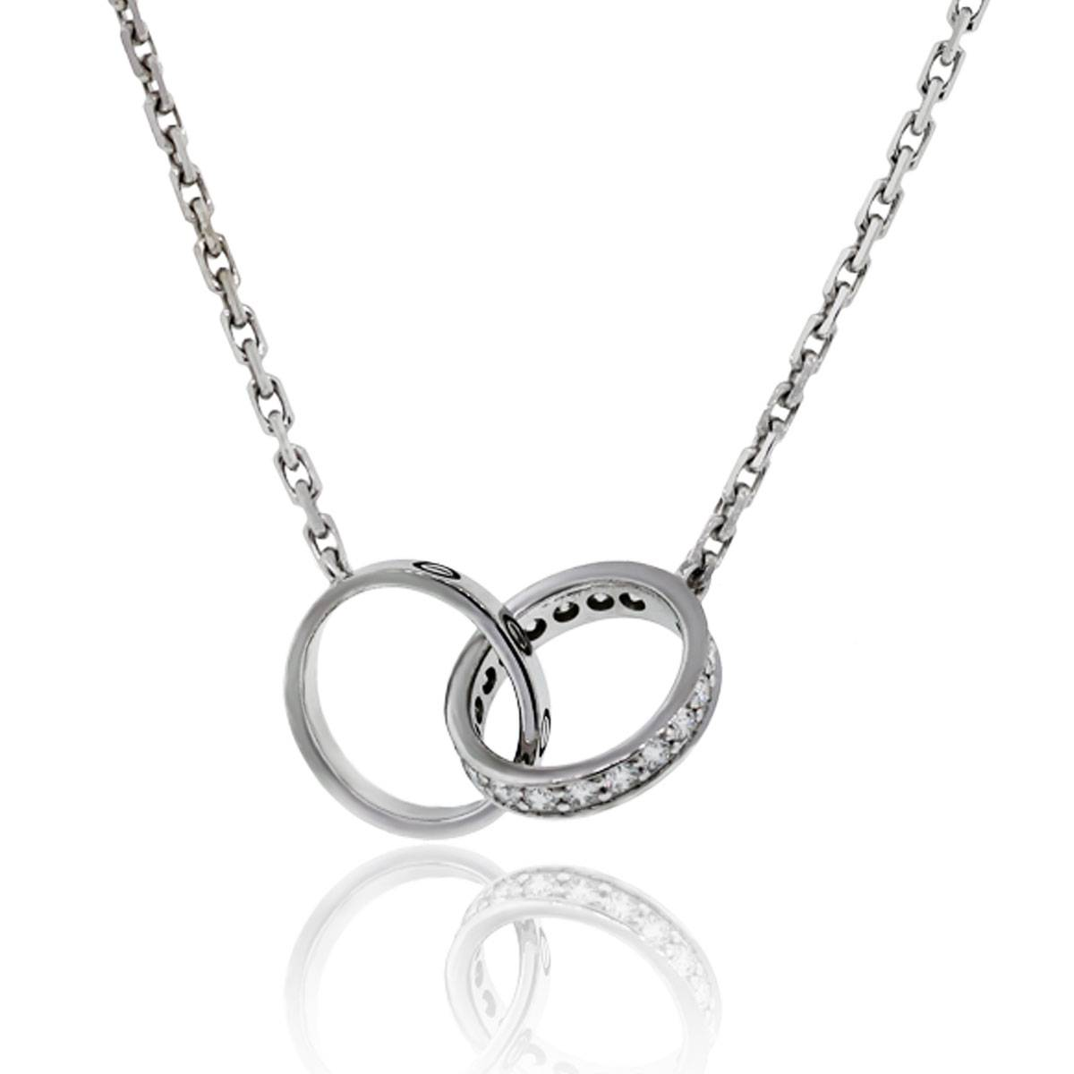Cartier 18k White Gold & Diamond Baby Love Necklace