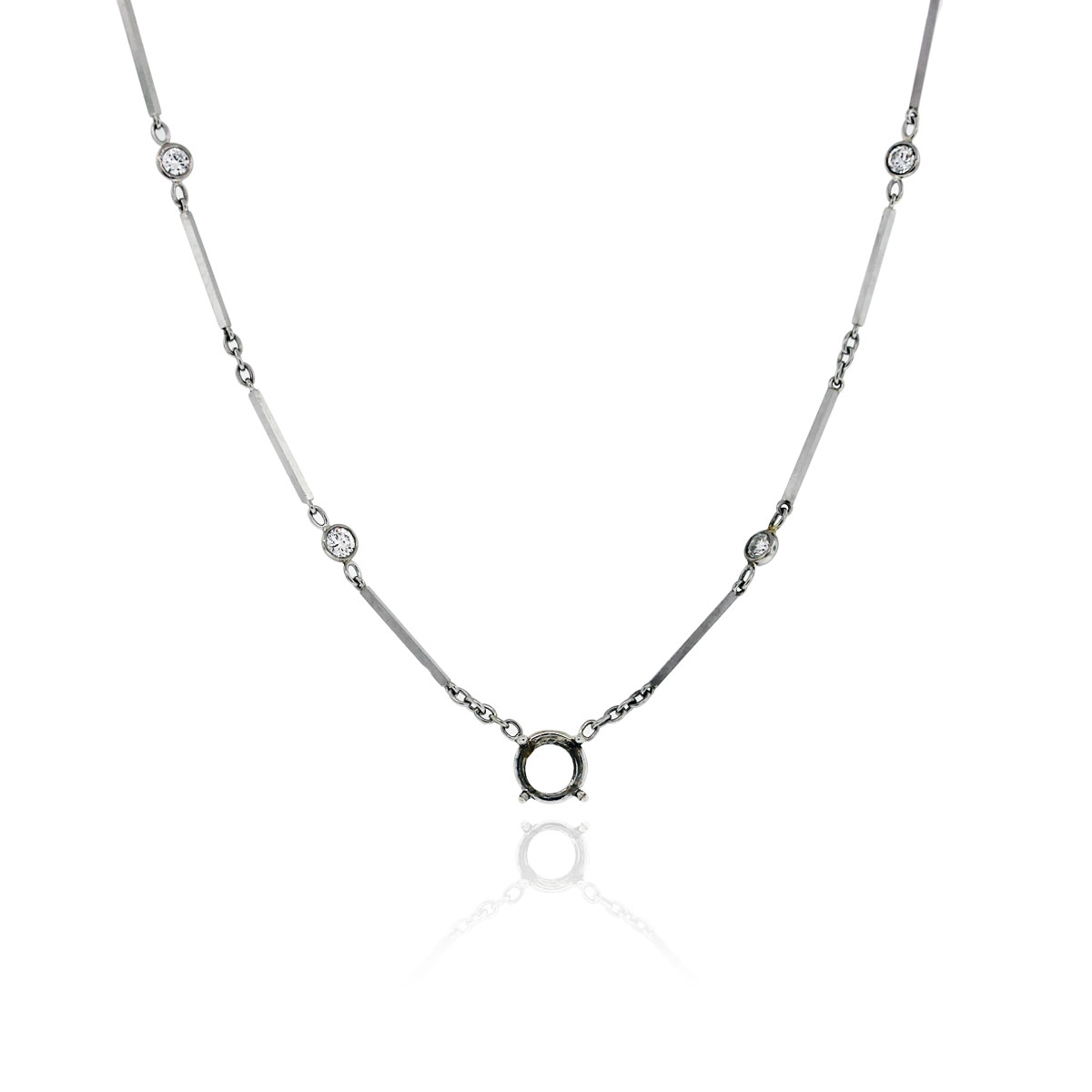 14k white gold 60ctw diamonds by the yard necklace for Diamonds by the yard ring