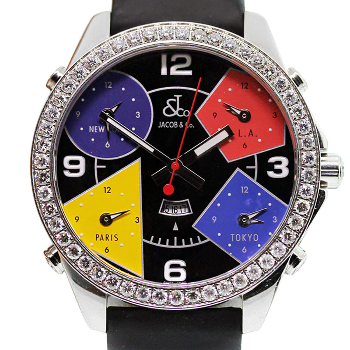 Jacob co s5993 five time zone diamond watch for Jacob co watches