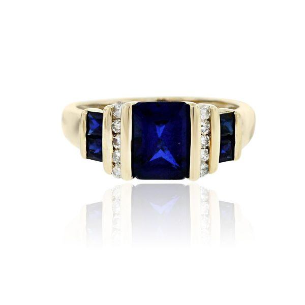 Synthetic Sapphire Cocktail RIng