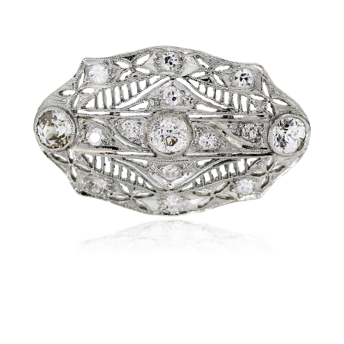 Platinum Antique Old European Cut Diamond Pin