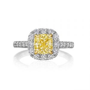 Fancy Yellow Cushion Cut Diamond Engagement Ring in 18K Two Tone Gold
