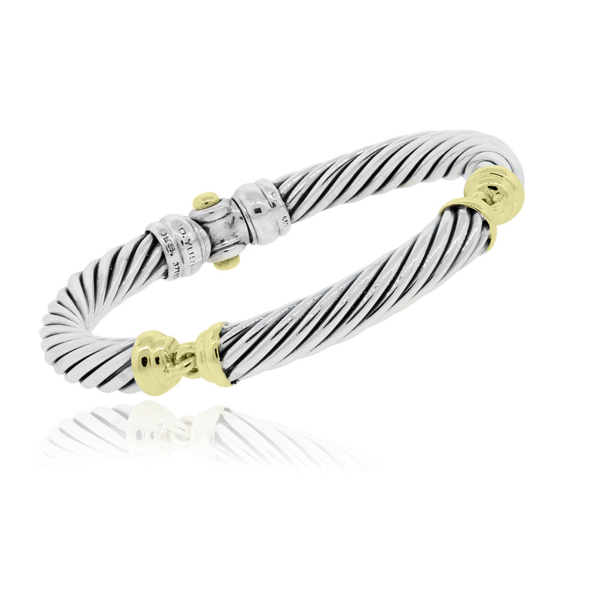 David yurman two tone 7mm cable station bracelet for David yurman like bracelets