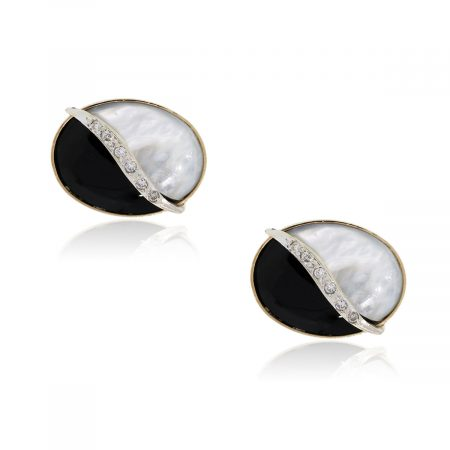 Gold Diamond Cuff Links onyx mother of pearl
