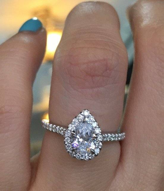 Pear shaped halo engagement ring Gabriel and Co