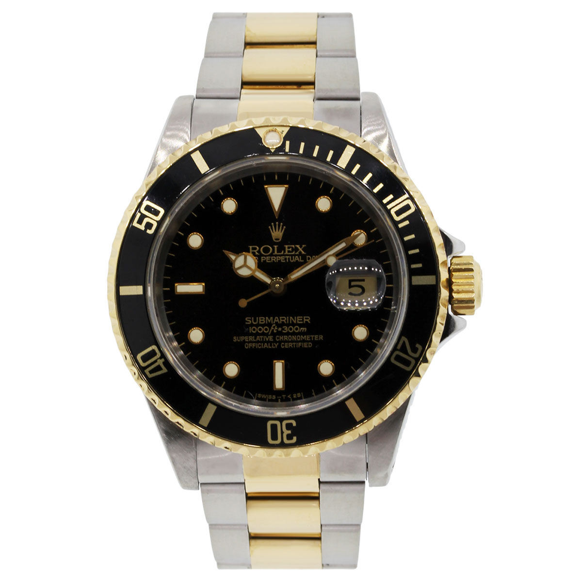 rolex submariner 16613 black dial two tone watch. Black Bedroom Furniture Sets. Home Design Ideas