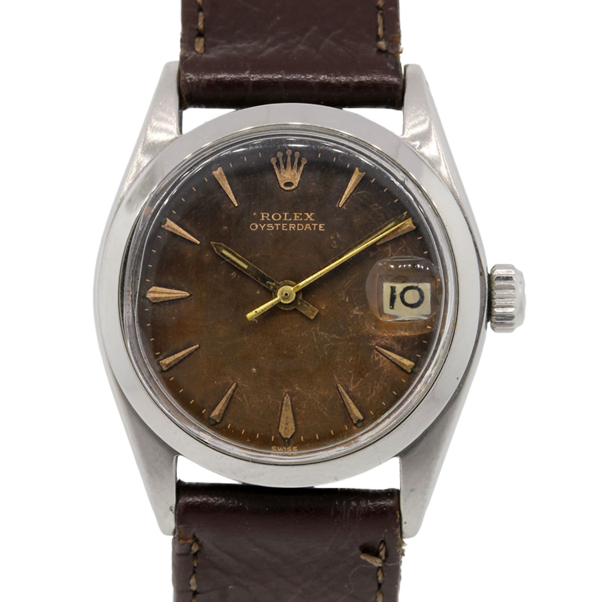 Rolex 6466 Oysterdate Brown Tropical Dial Vintage Watch