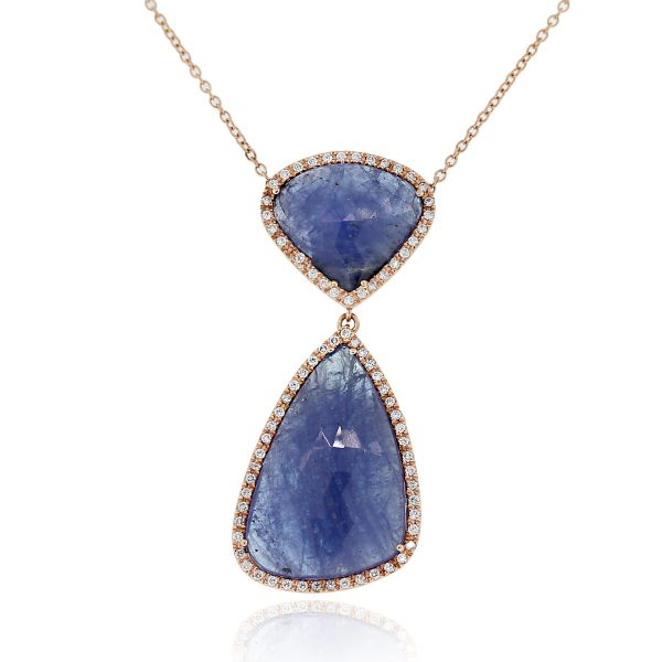 14k Rose Gold 38ctw Tanzanite Slice necklace is Beautiful