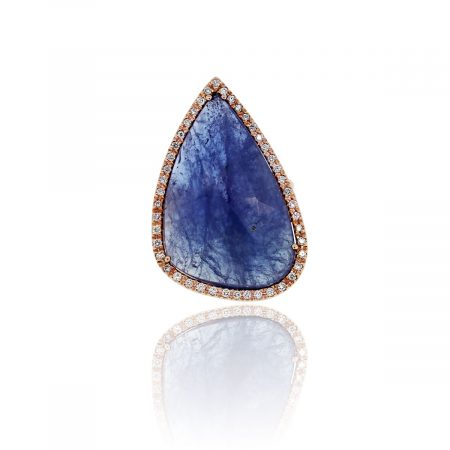 14k Rose Gold 23ctw Tanzanite Slice Cocktail Ring