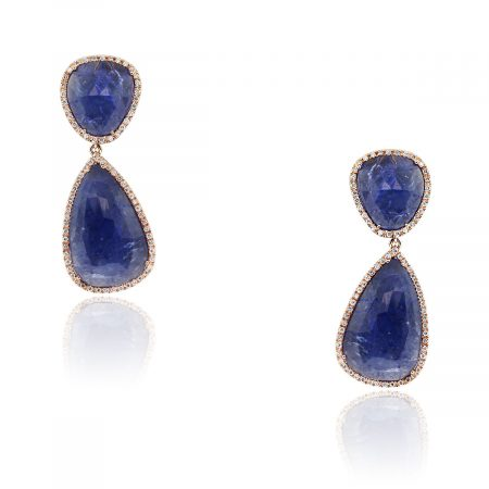 Unique 14k Rose Gold 65ctw Tanzanite Diamond Earrings