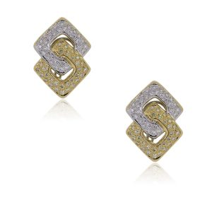 18k Two Tone Diamond Earrings