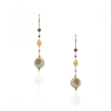 18k Yellow Gold Pearl Dangle Earrings