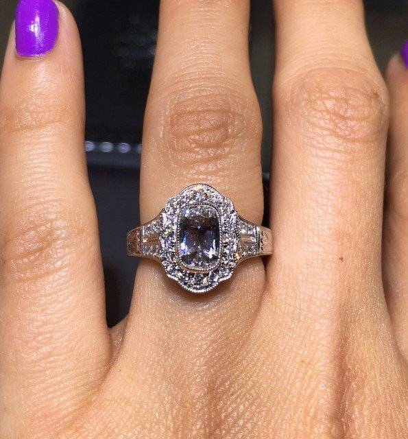 Victorian style halo engagement ring