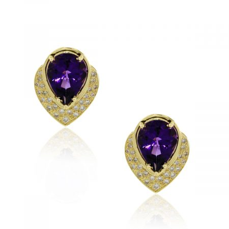1ctw diamond and amethyst earrings in 14k yellow gold