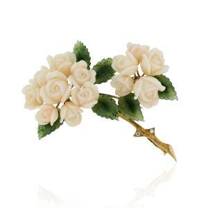 coral jade brooch pin with diamonds