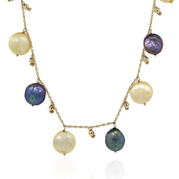 yellow gold beaded pearl necklaces