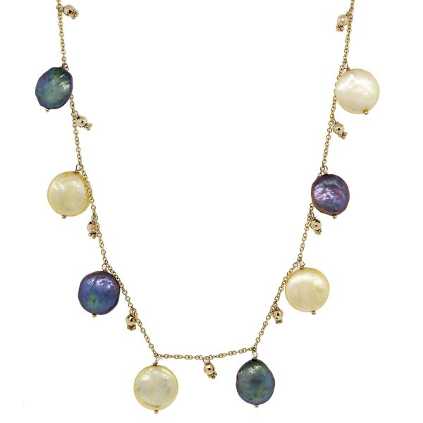 yellow gold pearl necklaces