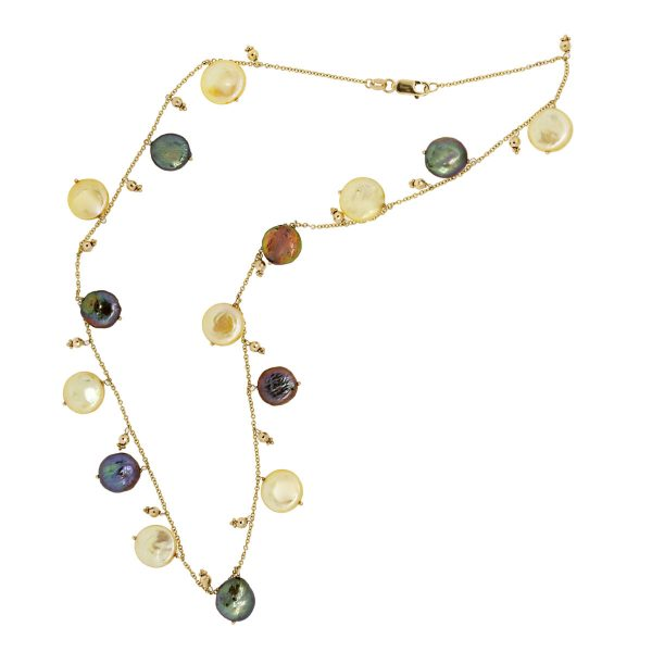 yellow pearl beaded necklaces yellow gold