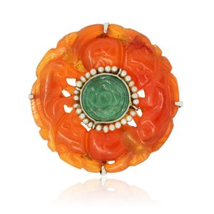 14k White Gold Carnelian, Green Onyx, and Seed Pearl Brooch