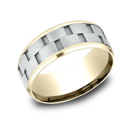 Benchmark two tone textured wedding ring