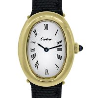 Cartier Baignoire 18k Yellow Gold on Leather Ladies Vintage Watch