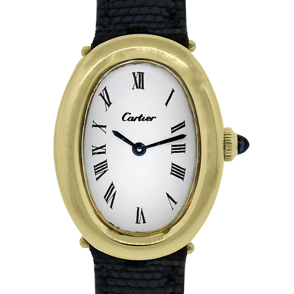 cartier baignoire 18k yellow gold on leather ladies vintage watch. Black Bedroom Furniture Sets. Home Design Ideas