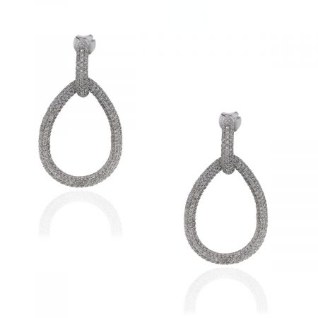 18k White Gold 7.30ctw Diamond Doorknocker Earrings
