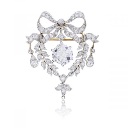 Platinum and 18k Gold Antique Cushion Cut Diamond Brooch Pin