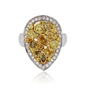 18k Two Tone Pear Shape Yellow Diamond Cluster Ring