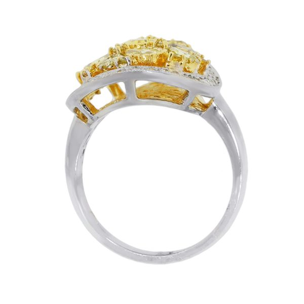 18k Two Tone Pear Shape Yellow Cluster Ring