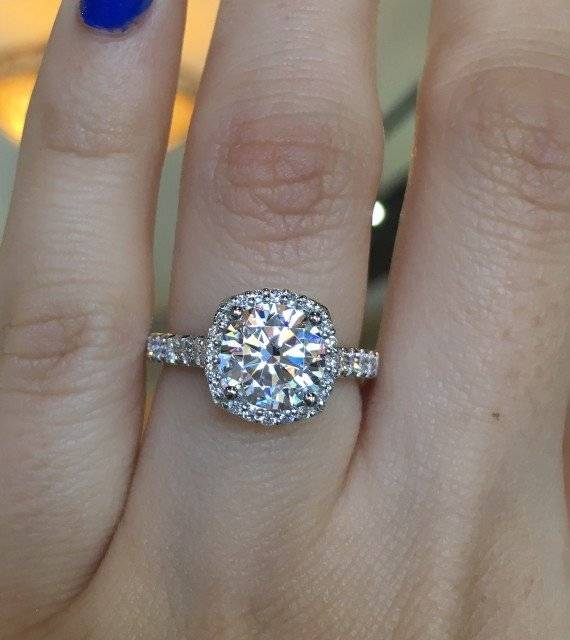 Tacori Petite Crescent Cushion Cut Halo Engagement Ring