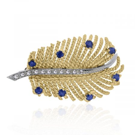 diamond and sapphire yellow gold pins