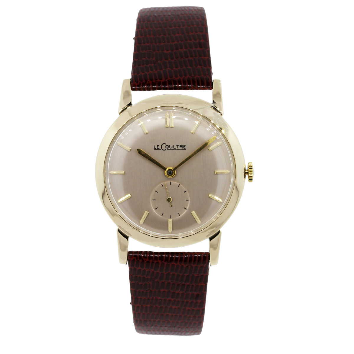 LeCoultre 14k Yellow Gold On Leather Watch