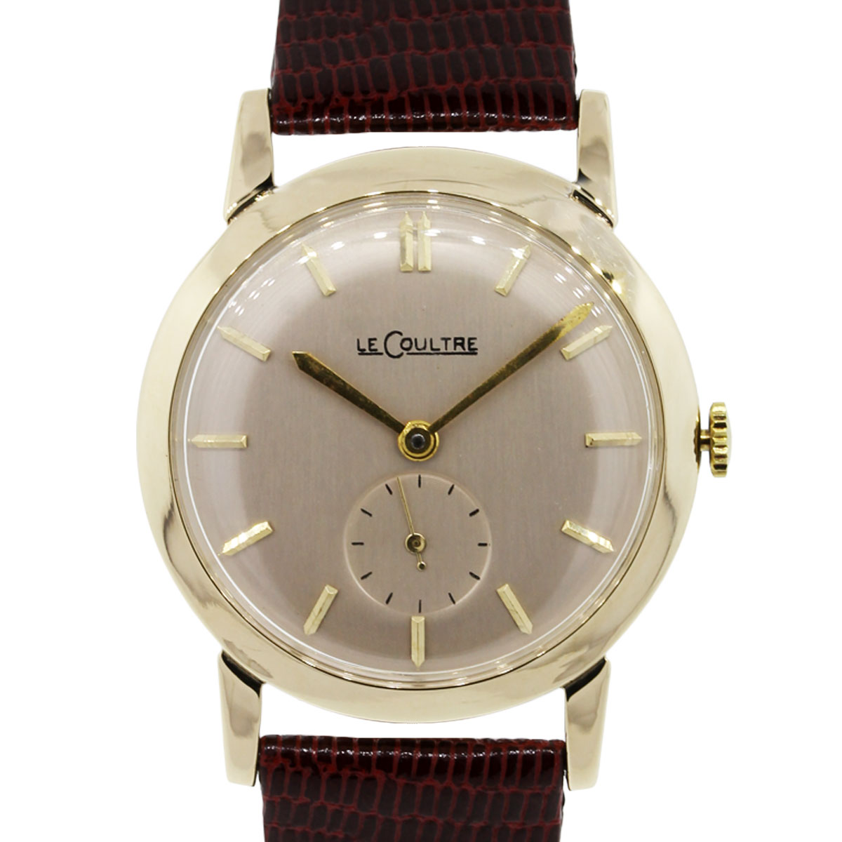 LeCoultre 14k Yellow Gold On Leather Strap Watch