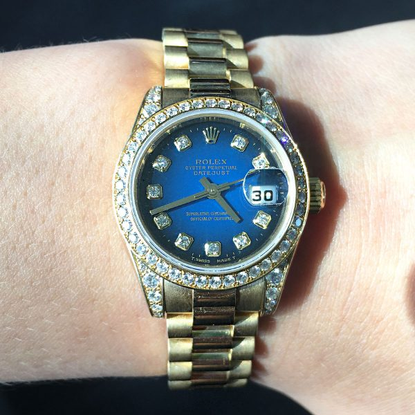 Rolex Gold Diamond Dial Ladies Watch