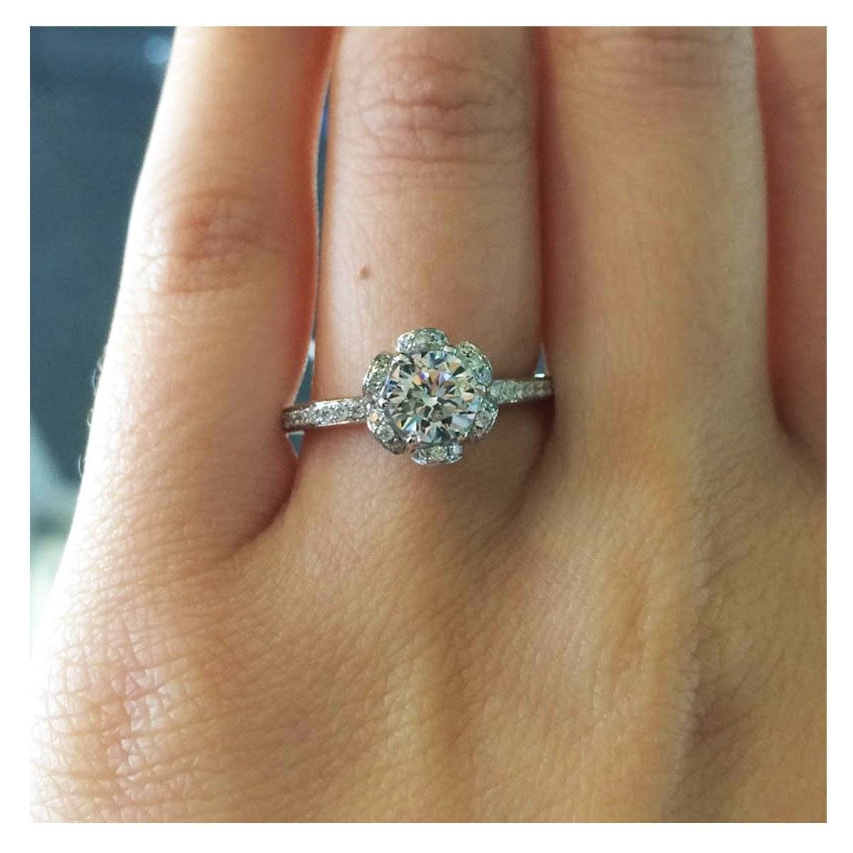 A. Jaffe floral halo engagement ring