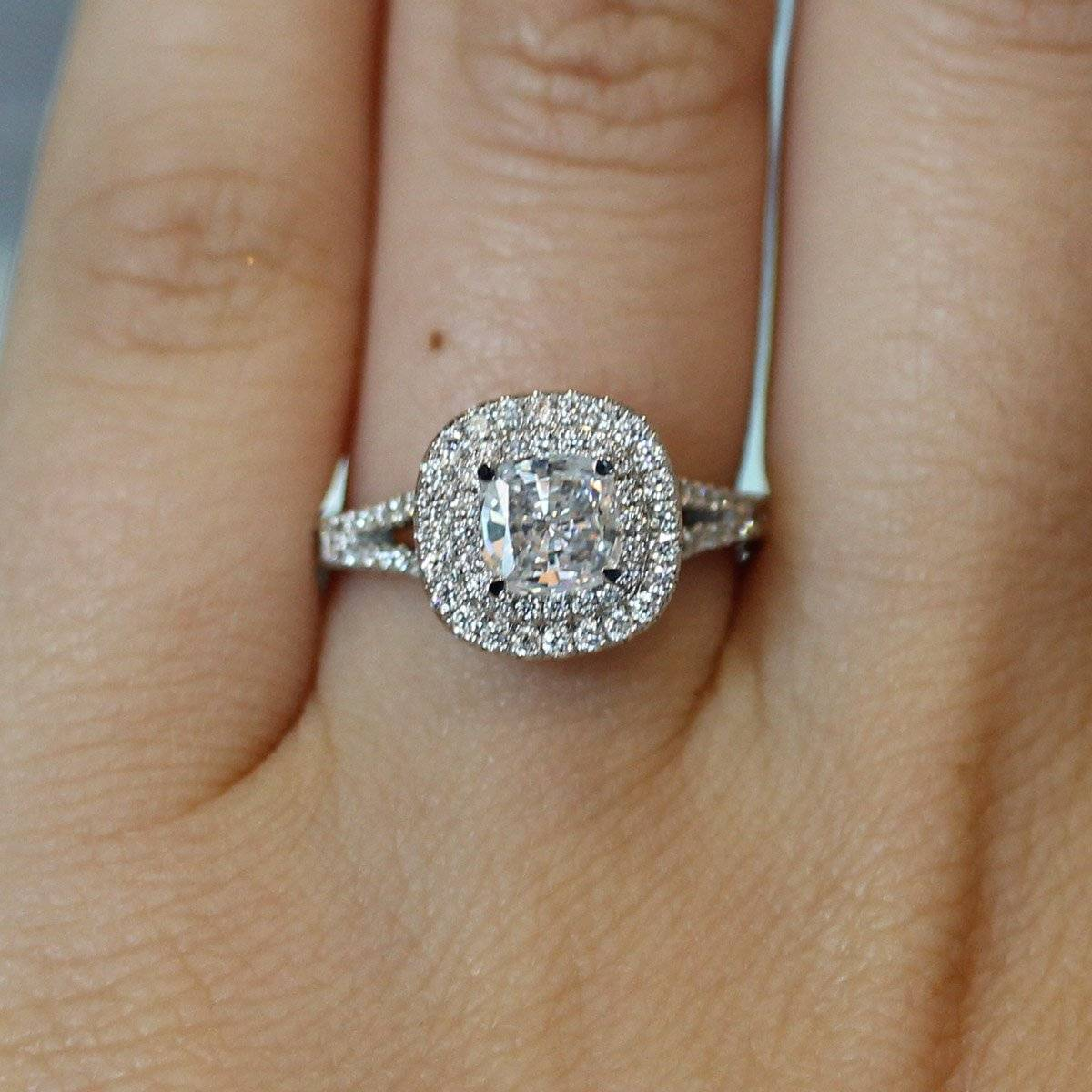 A. Jaffe double halo cushion engagement ring
