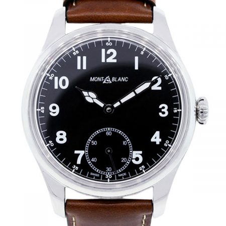 Mont Blanc 1858 Black Dial Leather Watch