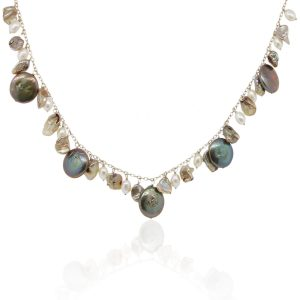 14k Yellow Gold Multi Pearl Necklace