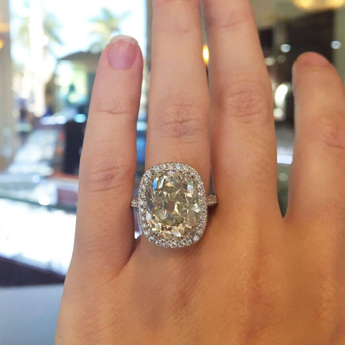Antique Cushion Cut Diamond Halo Engagement Ring