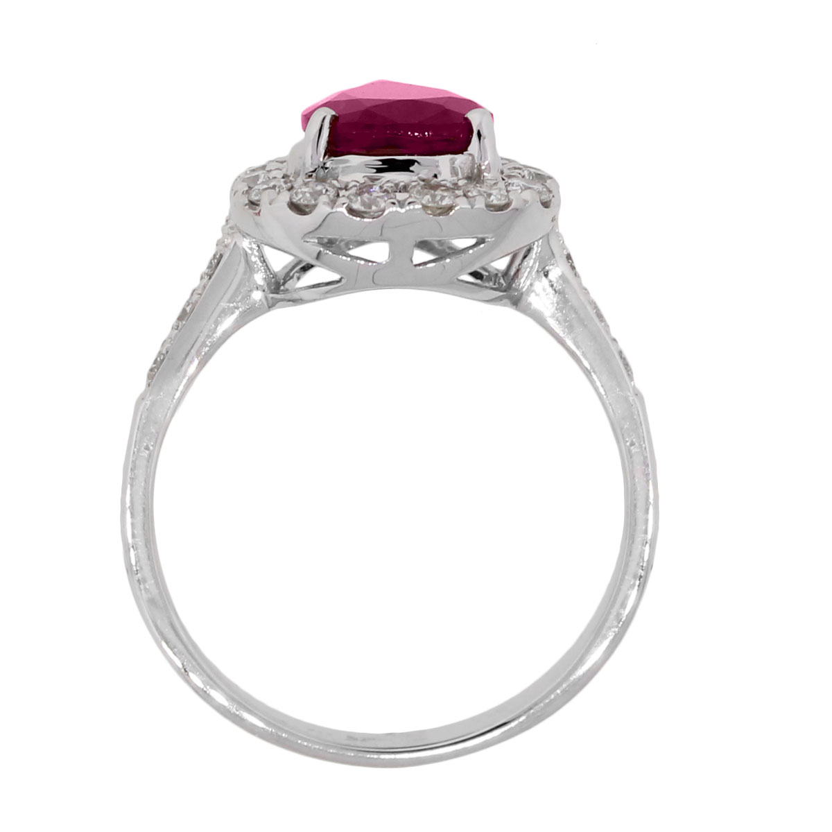 White Gold 194ct Pear Shape Ruby And Diamond Ring