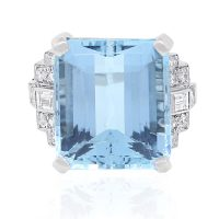 Platinum Aquamarine Diamond Cocktail Ring