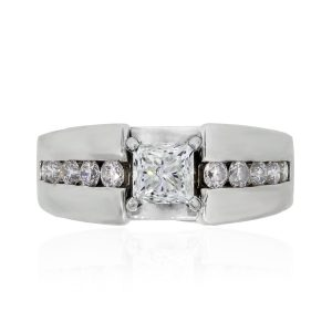 14k White Gold .95ct Princess Cut Diamond Engagement Ring