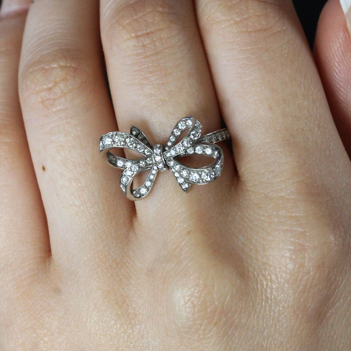 tiffany amp co platinum 051ctw diamond bow ring
