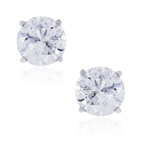 14k White Gold 6.14ctw diamond stud earrings