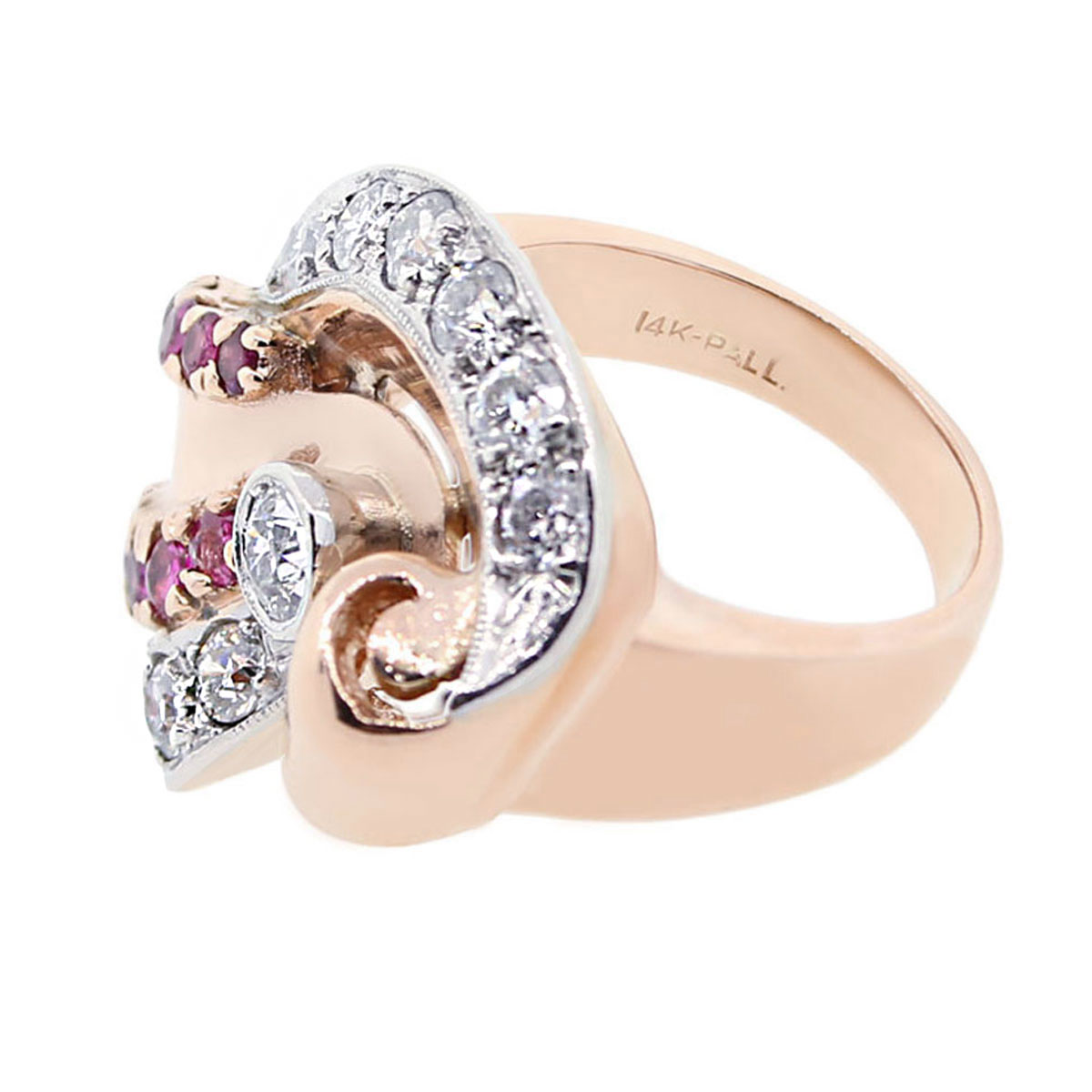 14k rose gold diamond ruby deco ring. Black Bedroom Furniture Sets. Home Design Ideas
