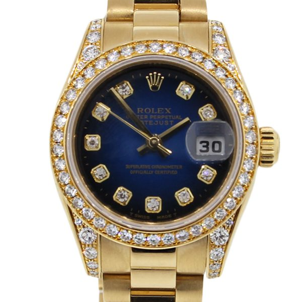 Rolex Datejust Gold Diamond Dial Ladies Watch